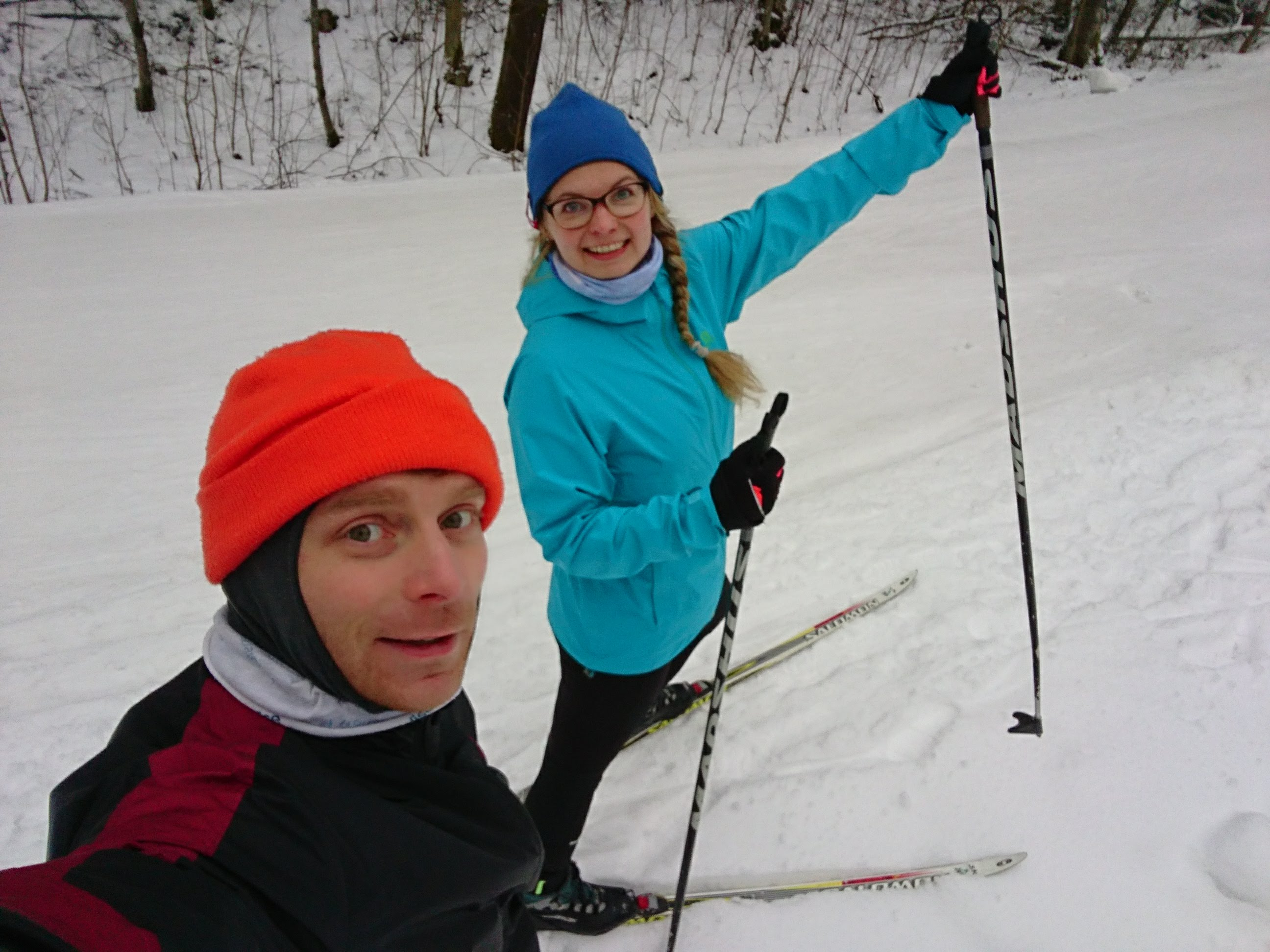 Cross-country skiing is the best with several thin layers.