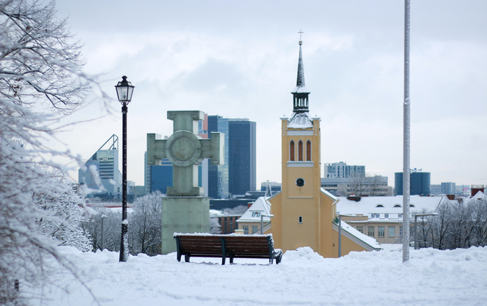 Freedom Square. Winter in Tallinn Estonia. K. L. Koppel