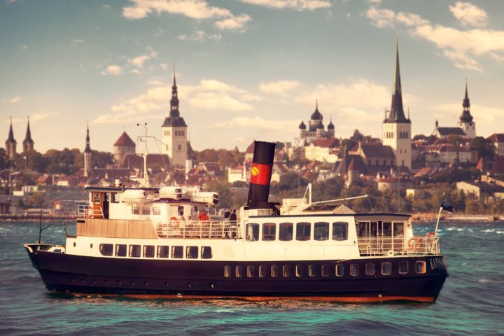 ©Sunlines. Historic cruise ship overlooking Tallinn's skyline