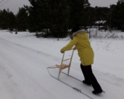 Pushing sledges are traditional sledges to move around on the islands in North Estonia in winter-time